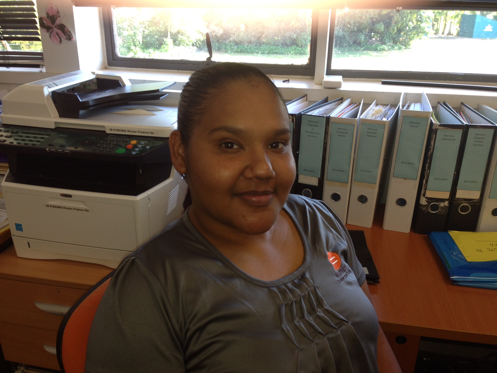 Workforce Development Centre Client, Cherie Bush in her current role at Wunan